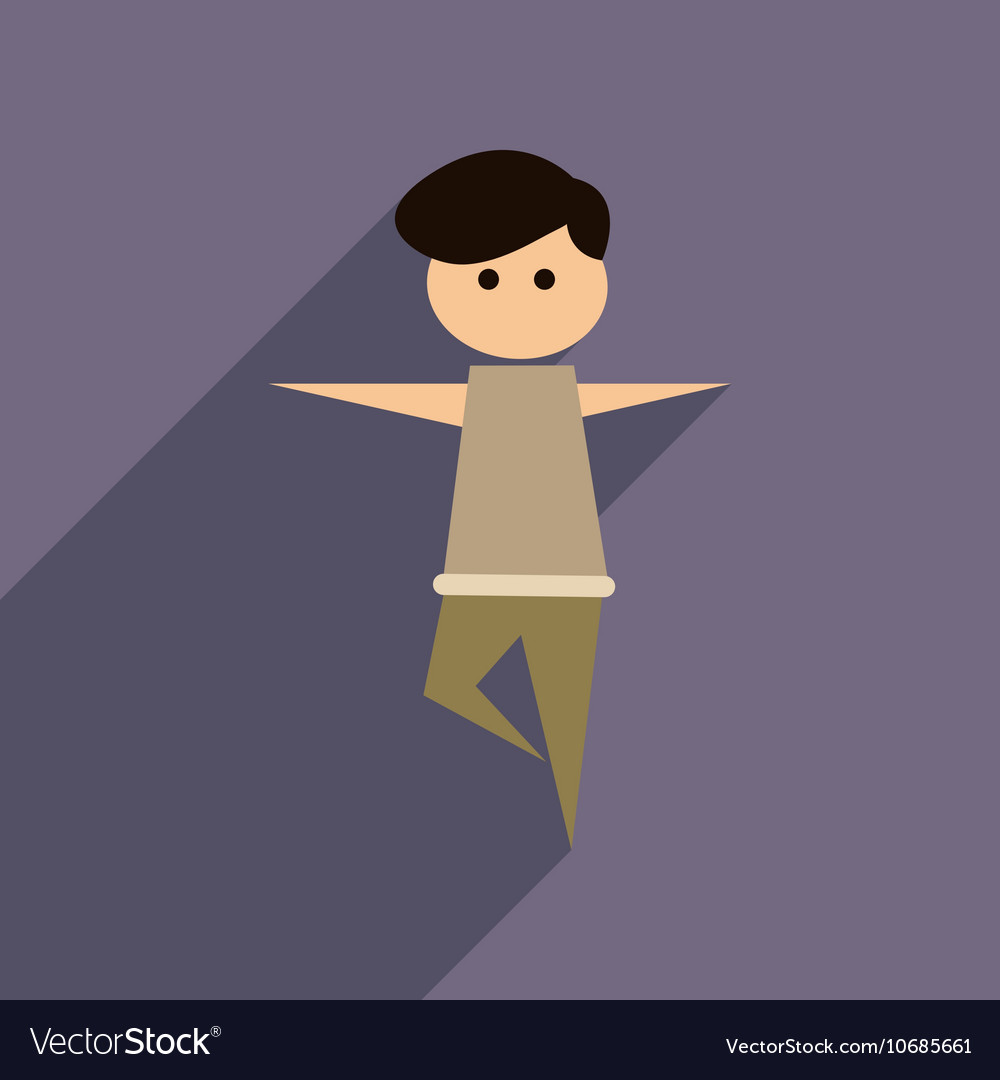 Flat web icon with long shadow male dancer