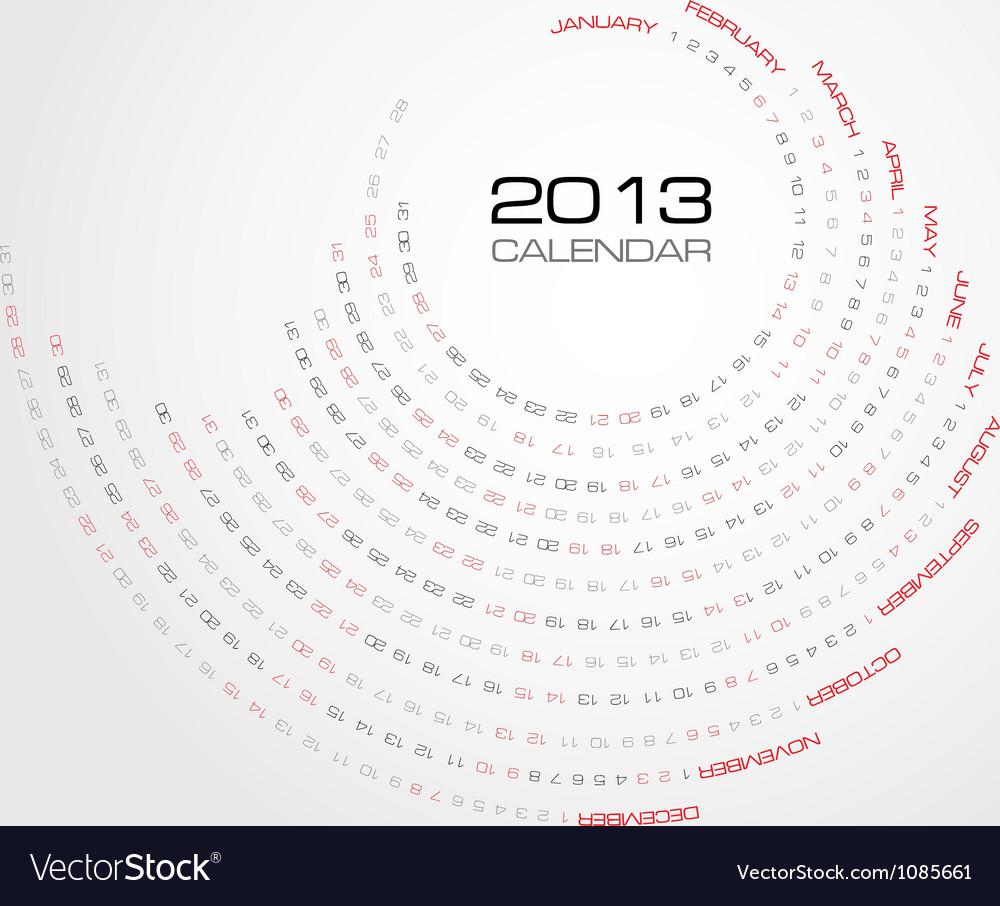 Swirl calendar 2013 vector image
