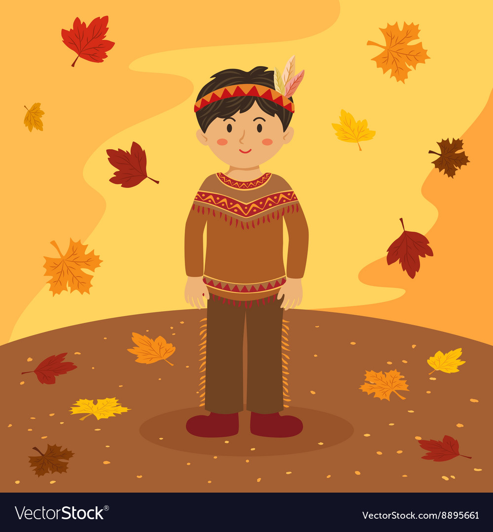 Thanksgiving Native Indian Short Hair Girl vector image