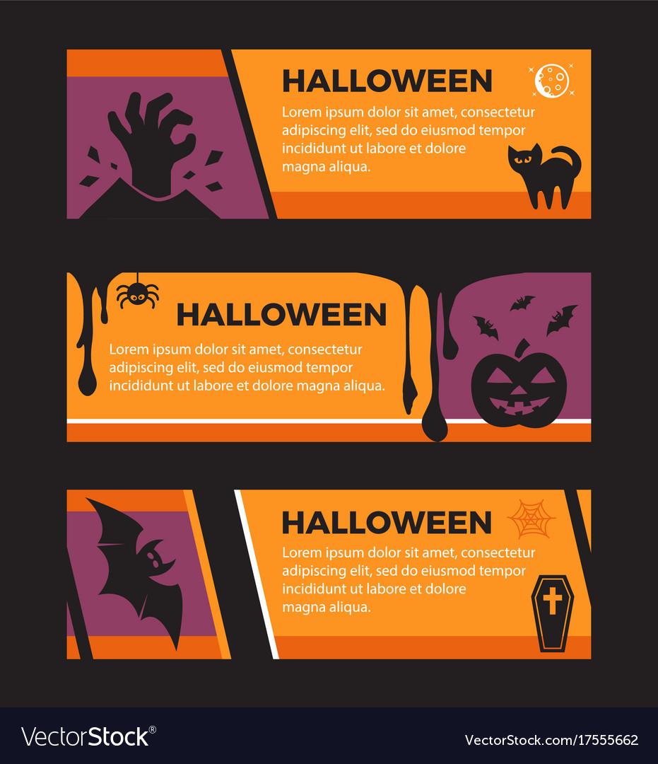 Happy halloween banners set of design elements vector image