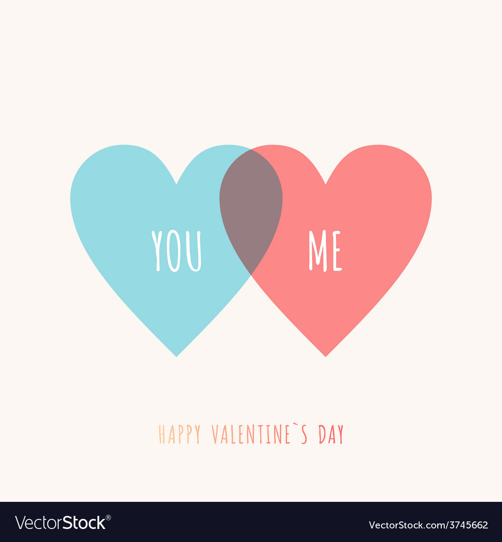 St Valentines day greeting card in flat style Blue vector image