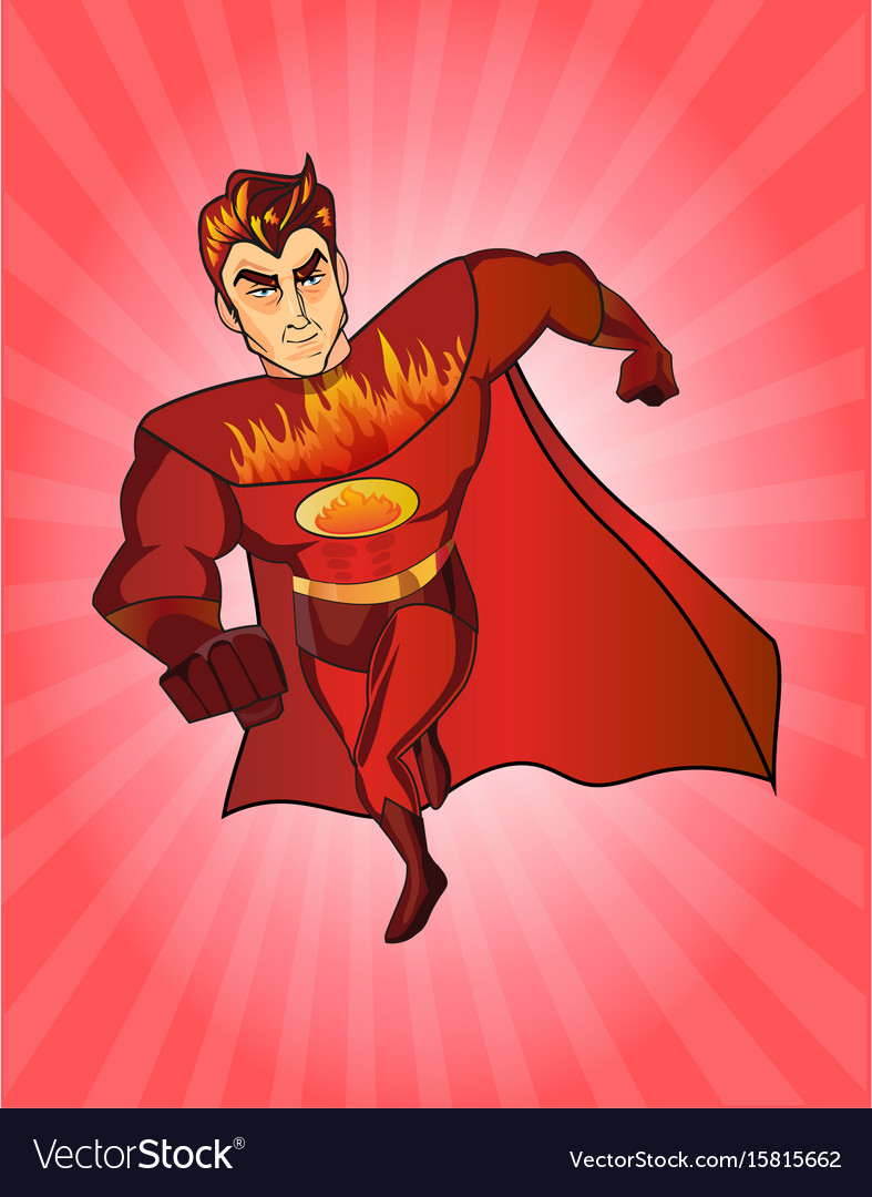 Super hero fireman cartoon retro style vector image
