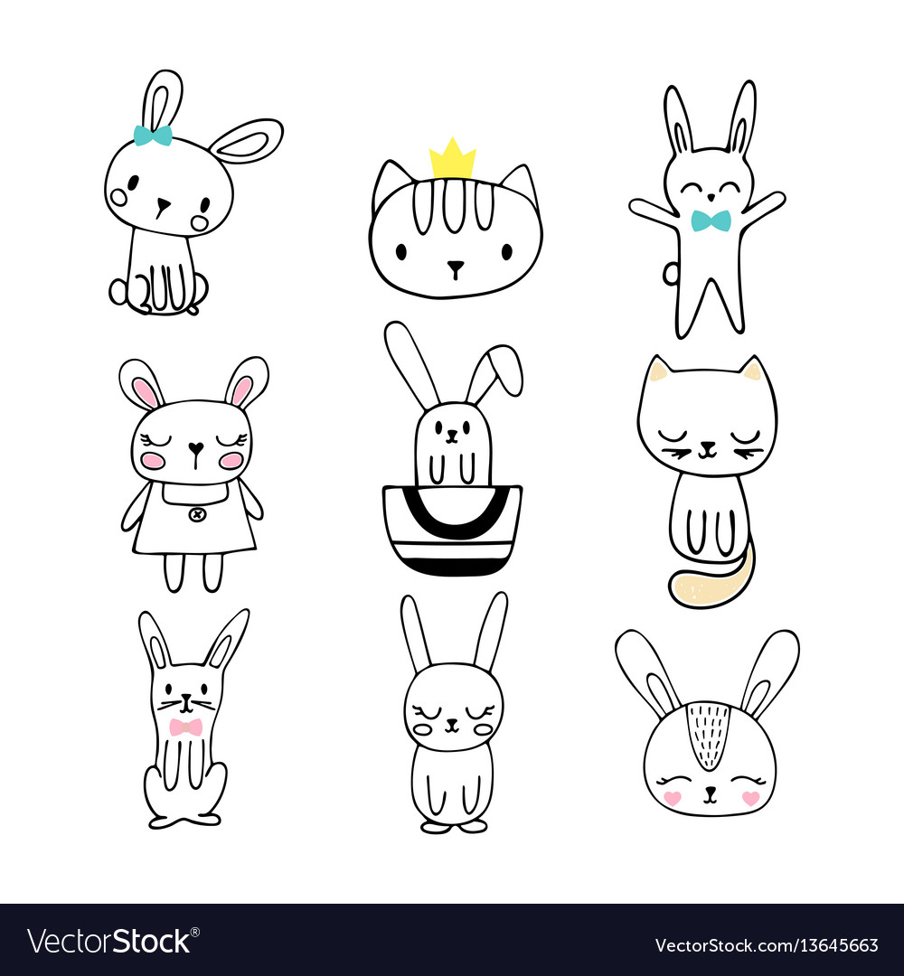 Collection of children doodles and sketches with vector image