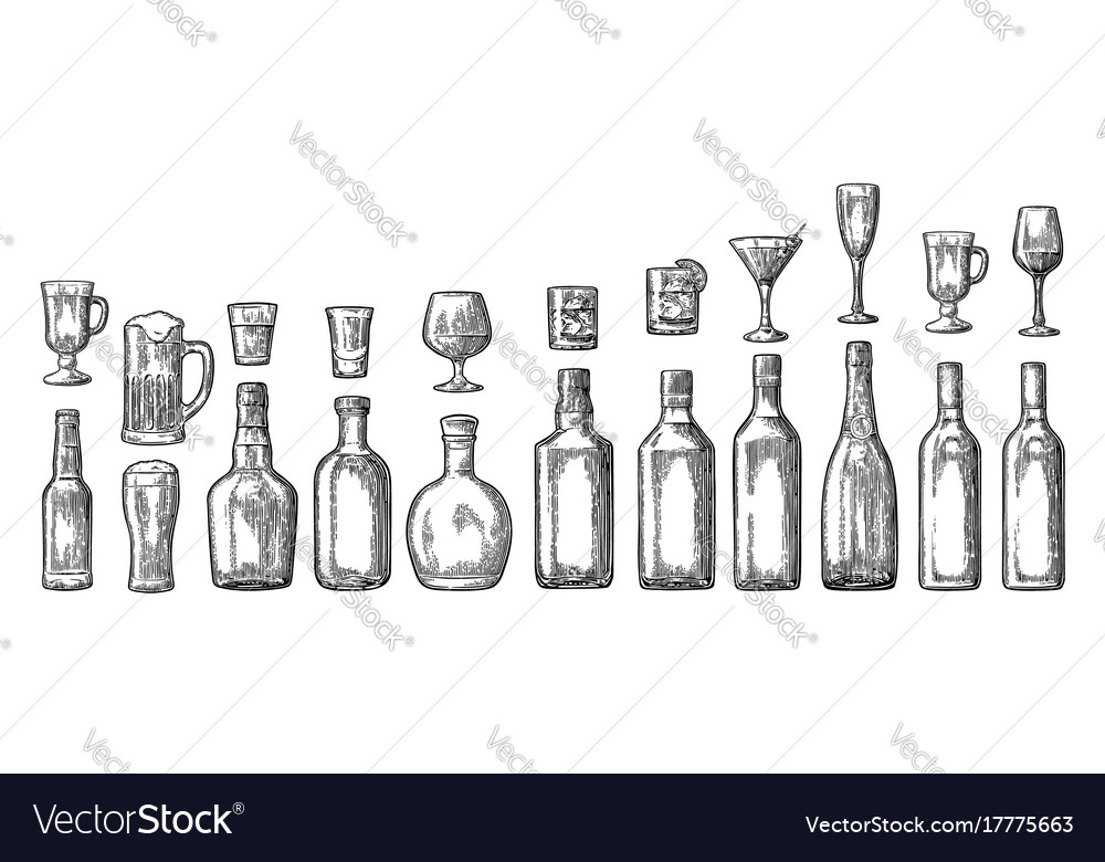 Set glass and bottle beer whiskey wine gin rum vector image
