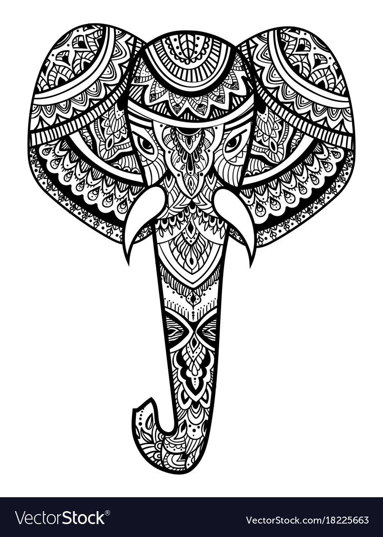 Stylized head of an elephant ornamental portrait vector image buycottarizona Images