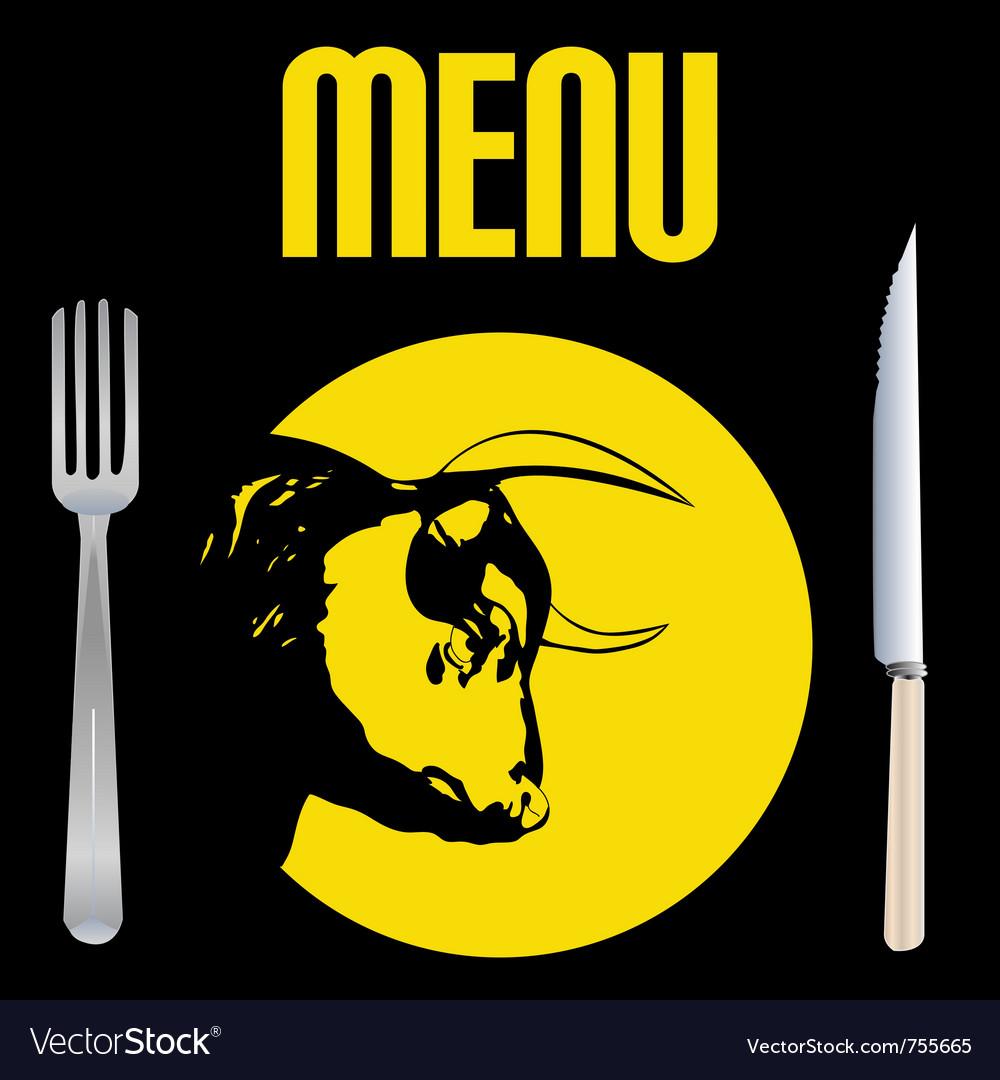 Steak menu vector image