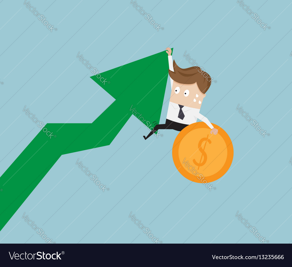 Businessman hanging on growth arrow graph with vector image