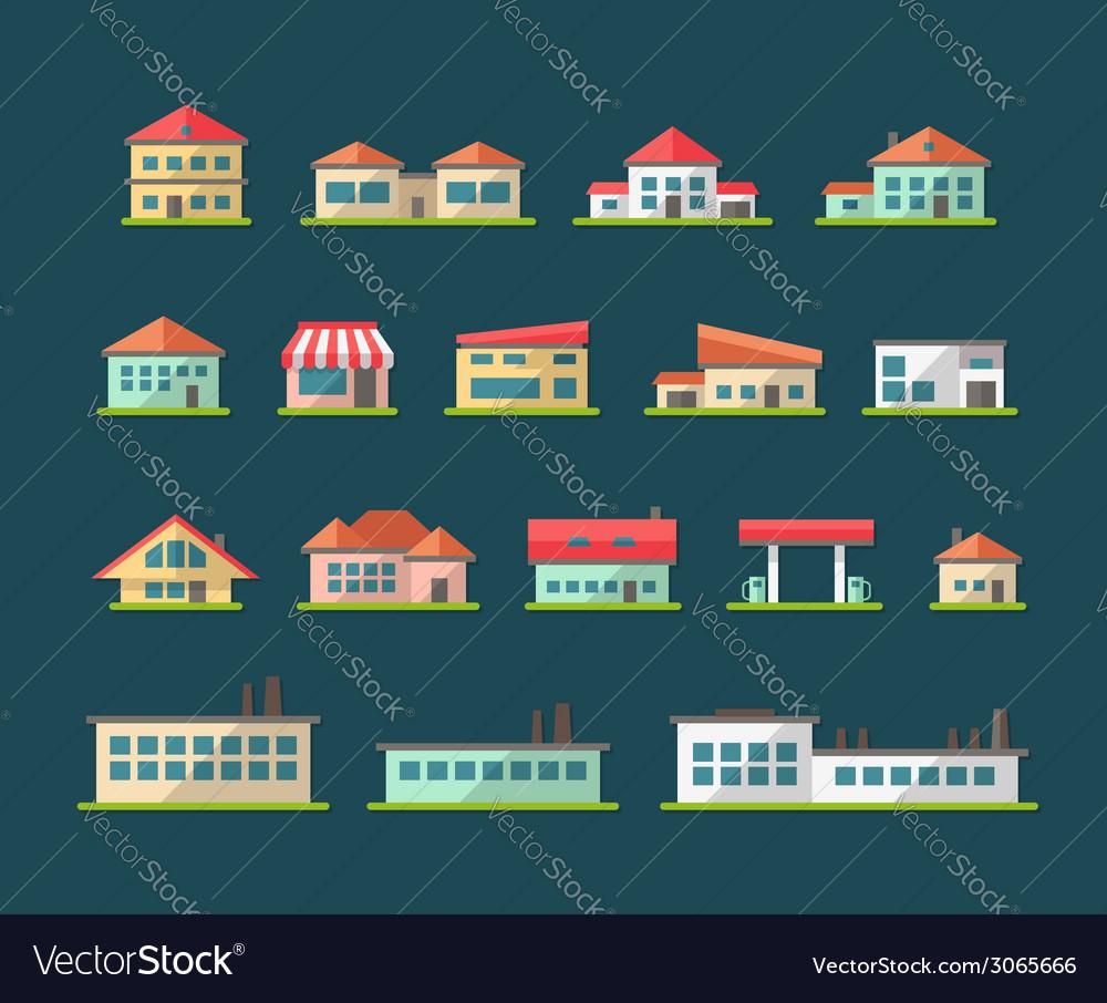 Set of flat design buildings pictograms vector image