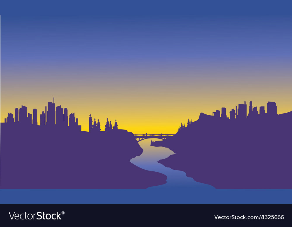 Sunrise city on the river vector image