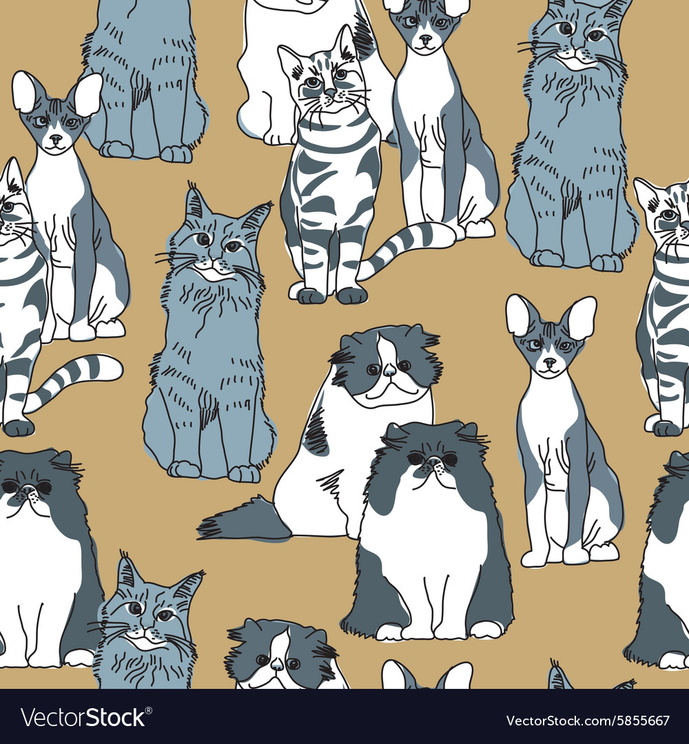 Cats pets animal group gray seamless pattern vector image