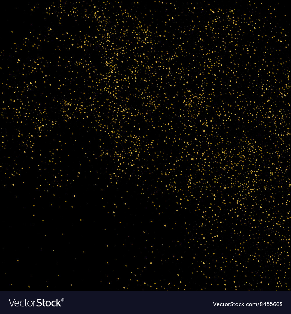 Glitter dust Gold texture on a black vector image