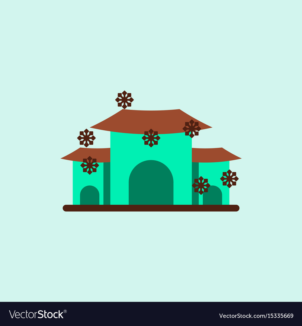 Chinese house and snow of