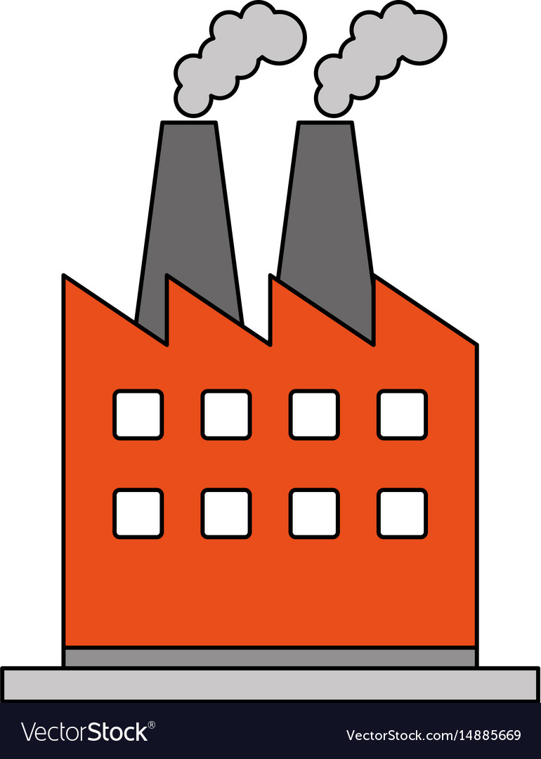 Color Image Cartoon Building Industrial Factory Vector Image