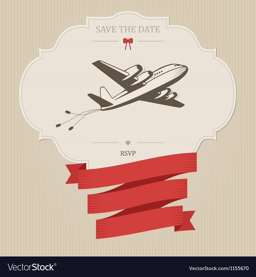Vintage wedding invitation with retro aircraft vector image