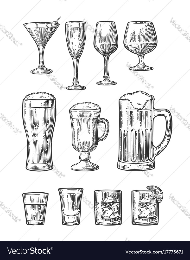 Set glass beer whiskey wine gin rum tequila vector image