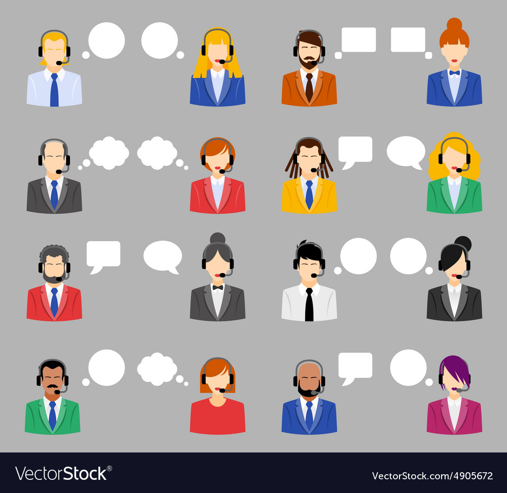 Call center operators female and male avatar vector image