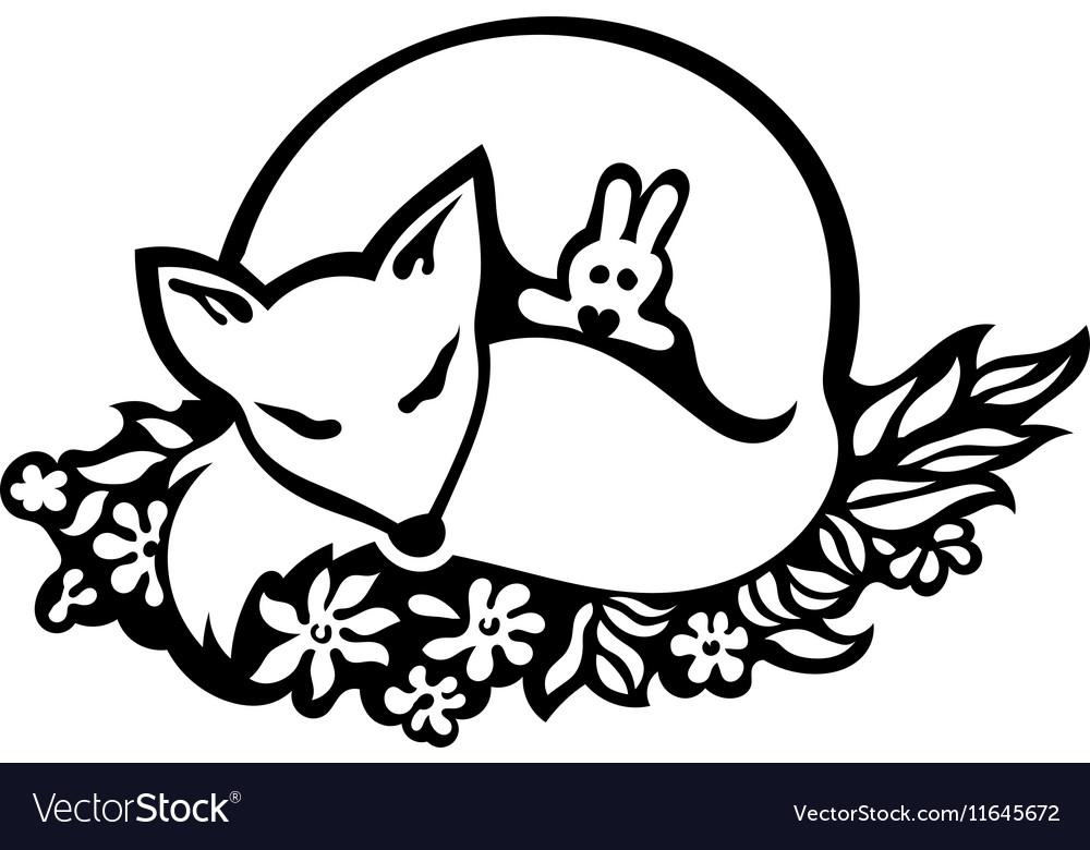 Line Drawing Fox : Sleeping fox drawing royalty free vector image