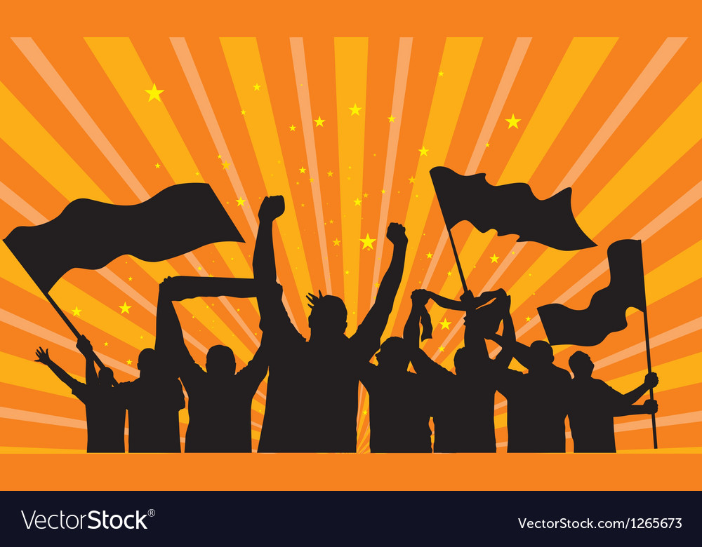 Crowd fans silhouettes vector image