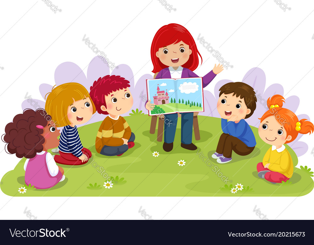 Teacher telling story to children in the garden vector image
