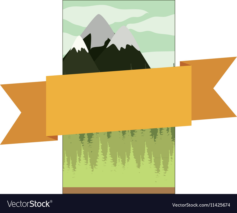 Frame mountain landscape with central ribbon vector image