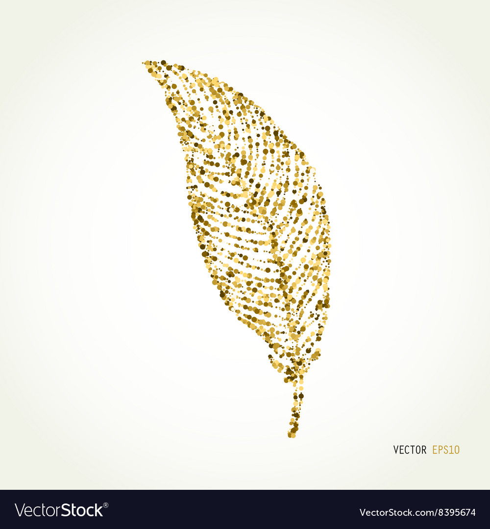 Gold glitter feather sign sparkles isolated on vector image