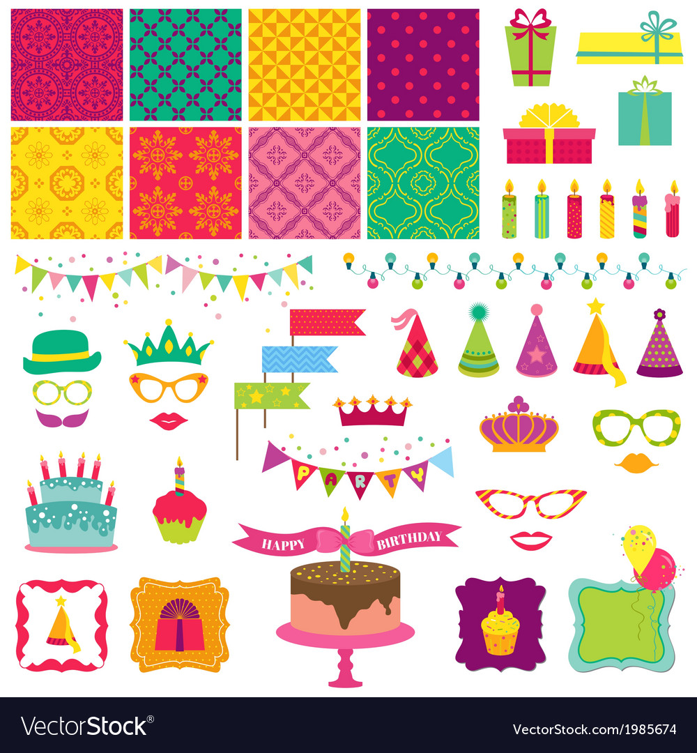 Happy Birthday and Party Set vector image