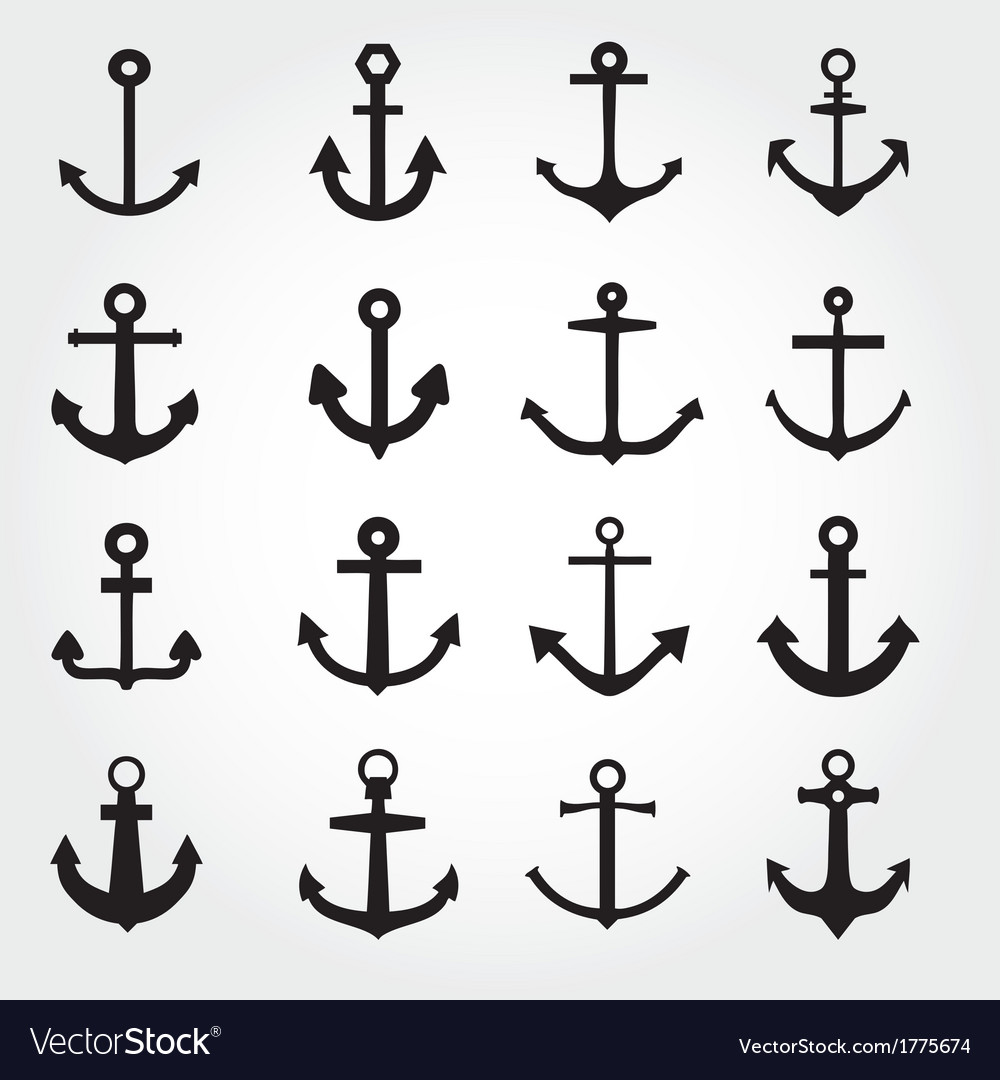 Set of anchor symbols or logo template vector image