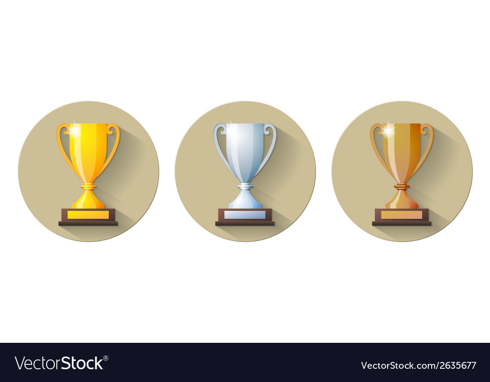 Gold silver and bronze winners cup Flat Icon vector image
