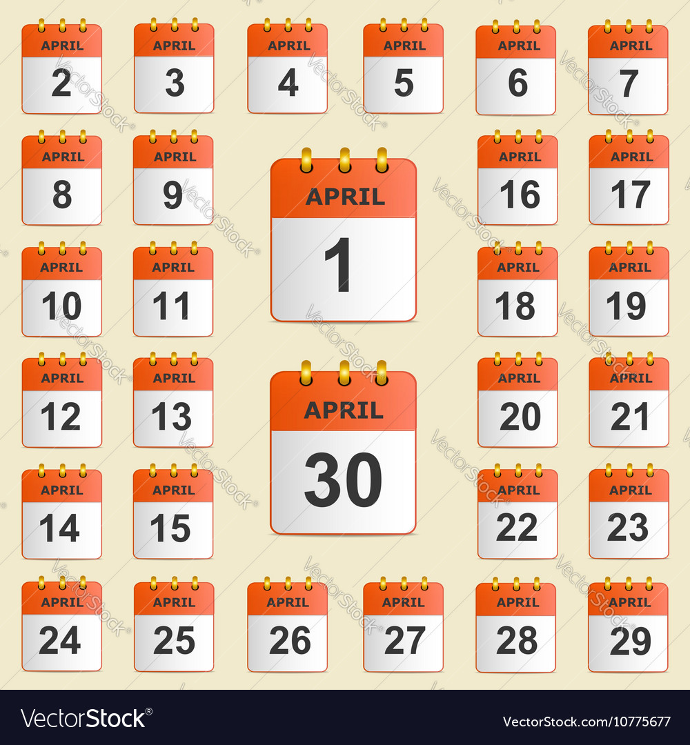 Set of icons for the calendar in April vector image