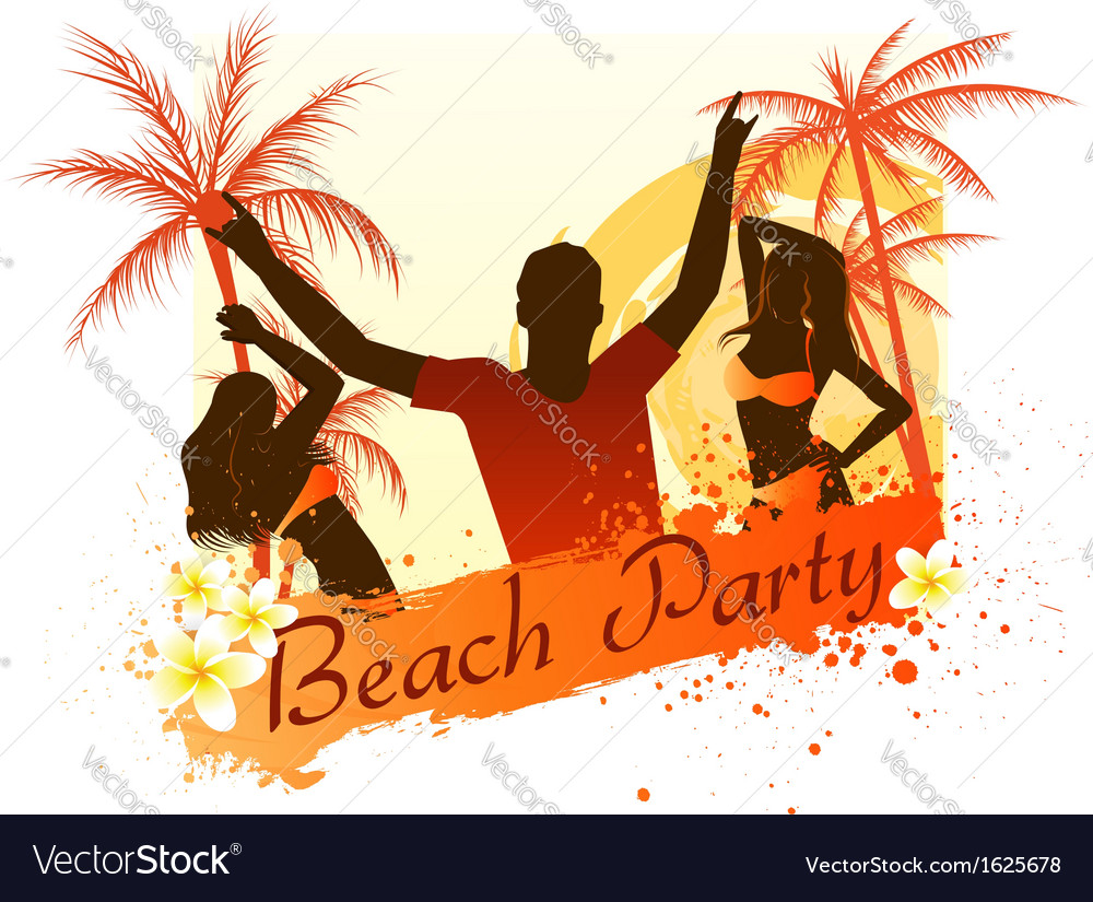 Beach party background with people vector image