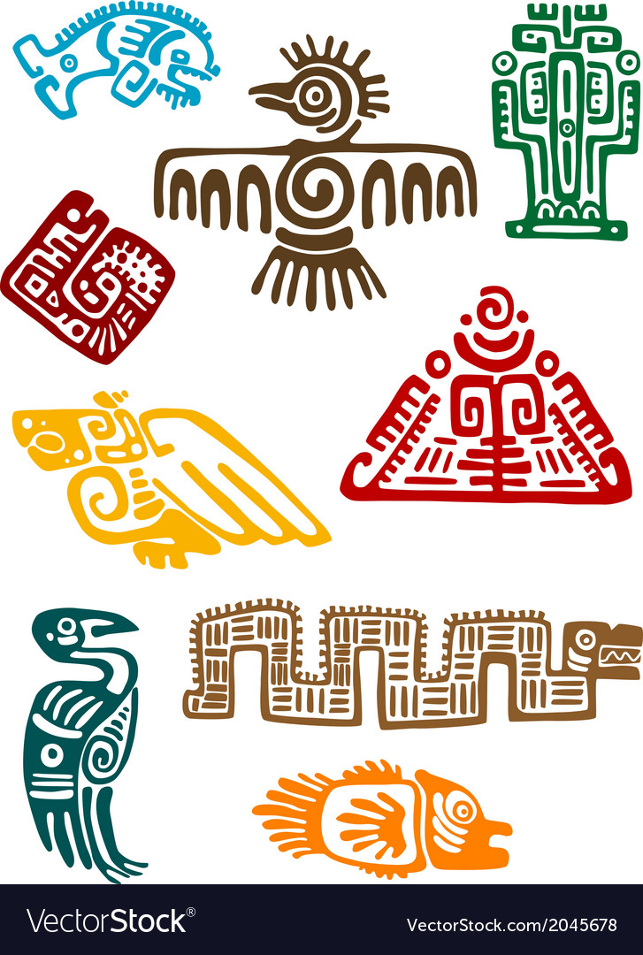 Ancient maya monsters vector image