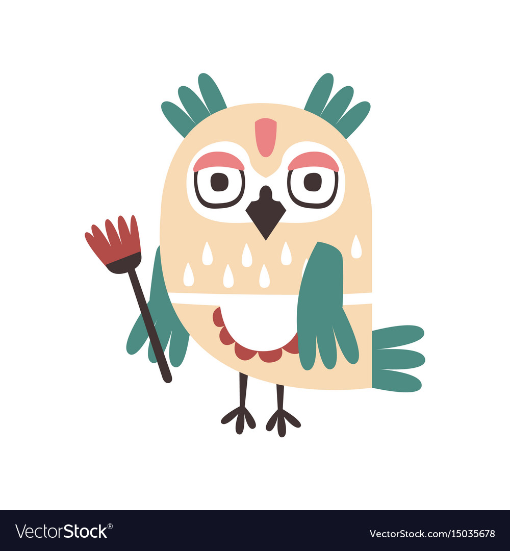 Cute cartoon owl bird holding flower colorful vector image