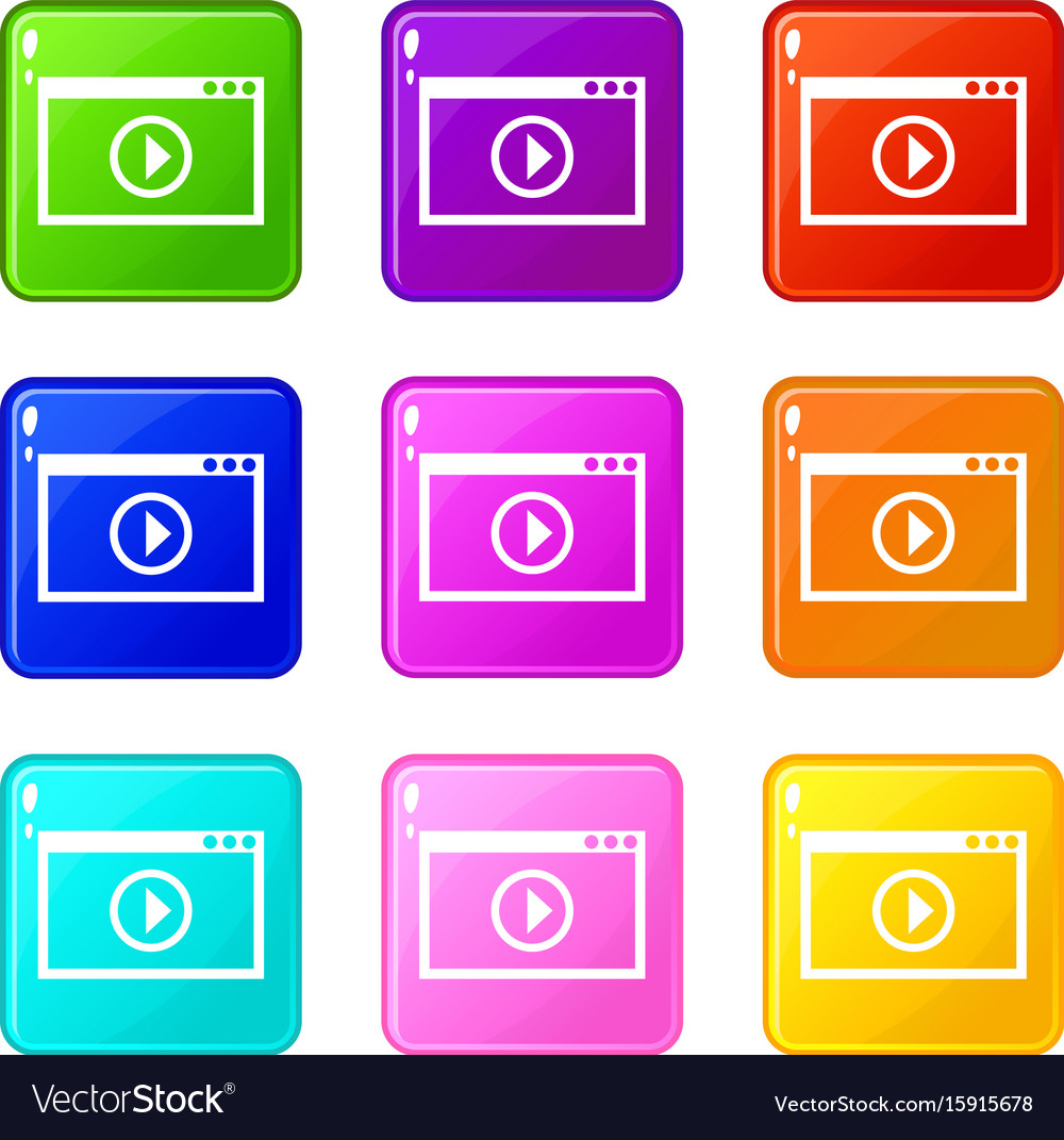 Program for video playback icons 9 set vector image