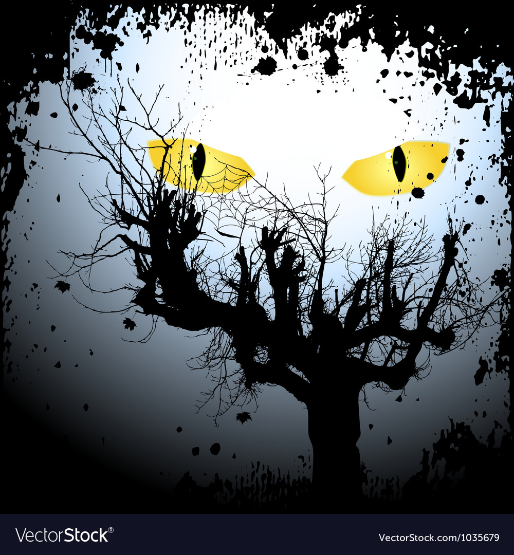 Halloween background with the scary eyes vector image