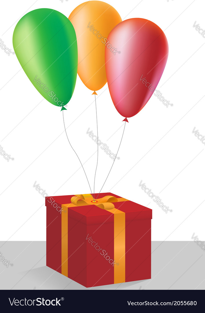 Gift box with colorful balloons vector image