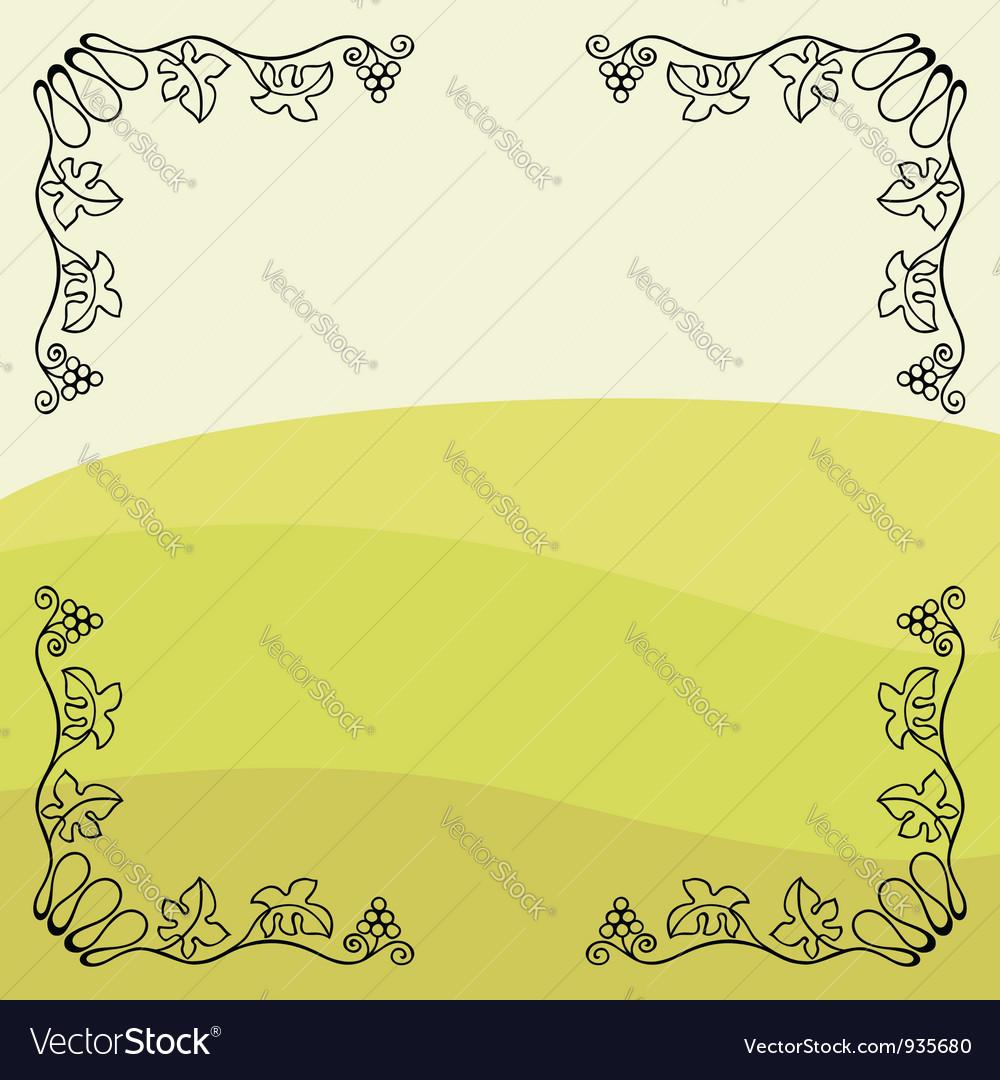 Grape vine frame vector image