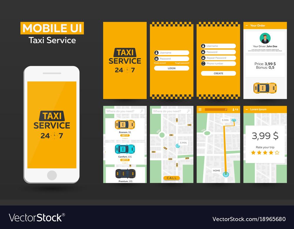 Mobile app taxi service material design ui ux vector image