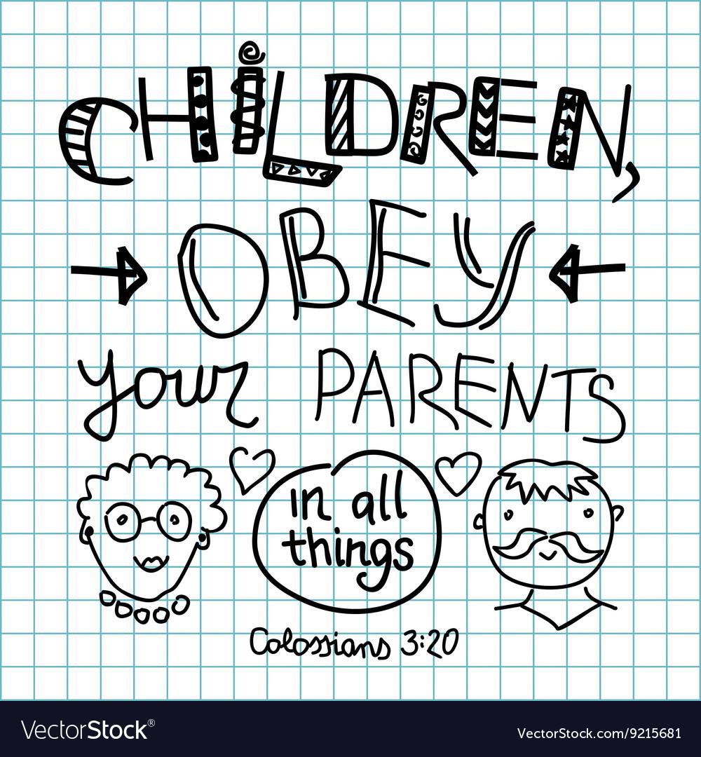 Lettering Bible Children obey your parents vector image