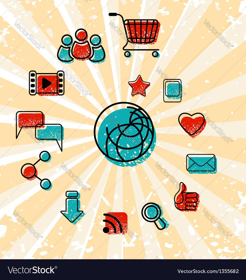 Internet Communication Icons Set vector image