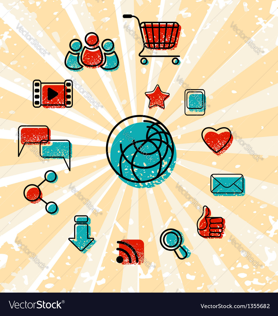 Internet Communication Icons Set vector image