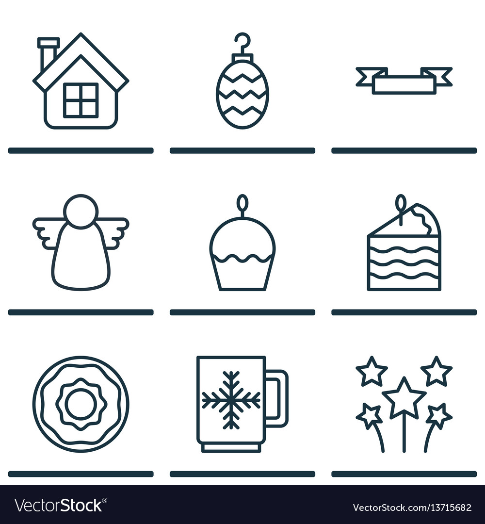 Set of 9 celebration icons includes christmas toy vector image