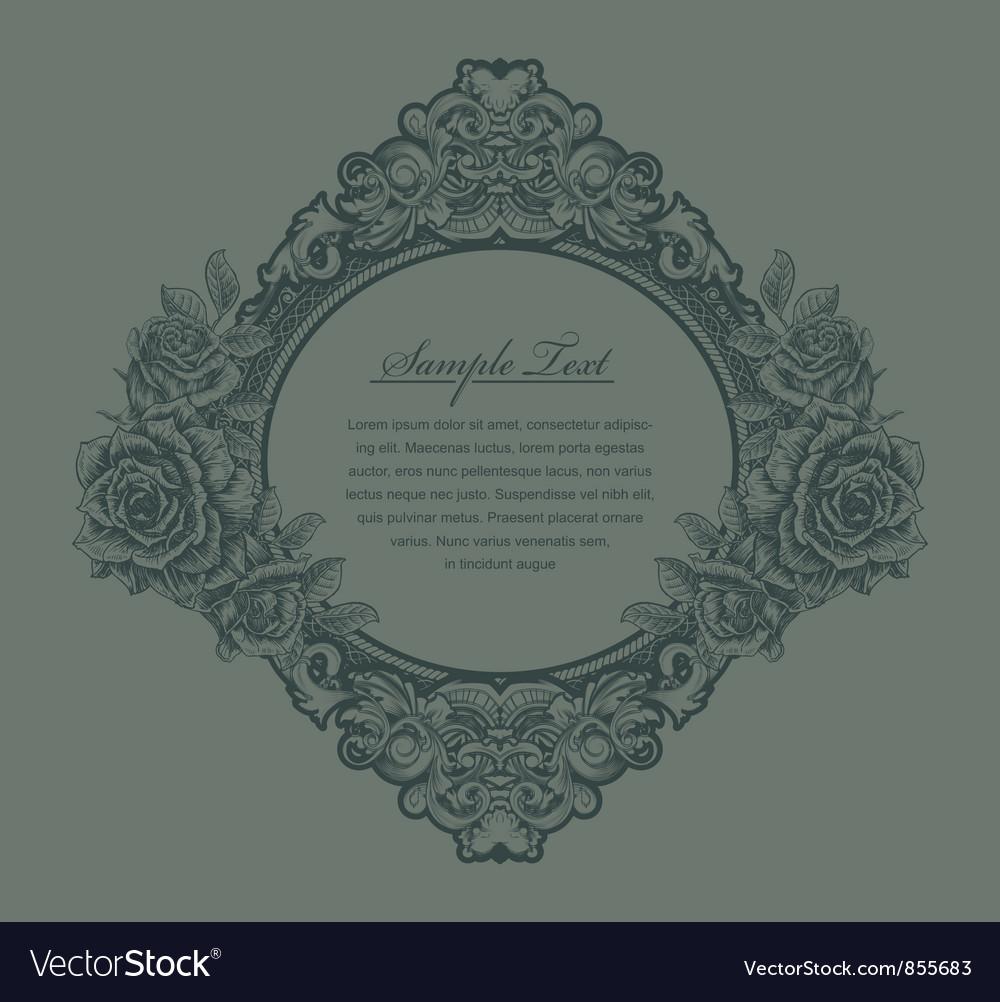 Vintage floral frame with roses vector image