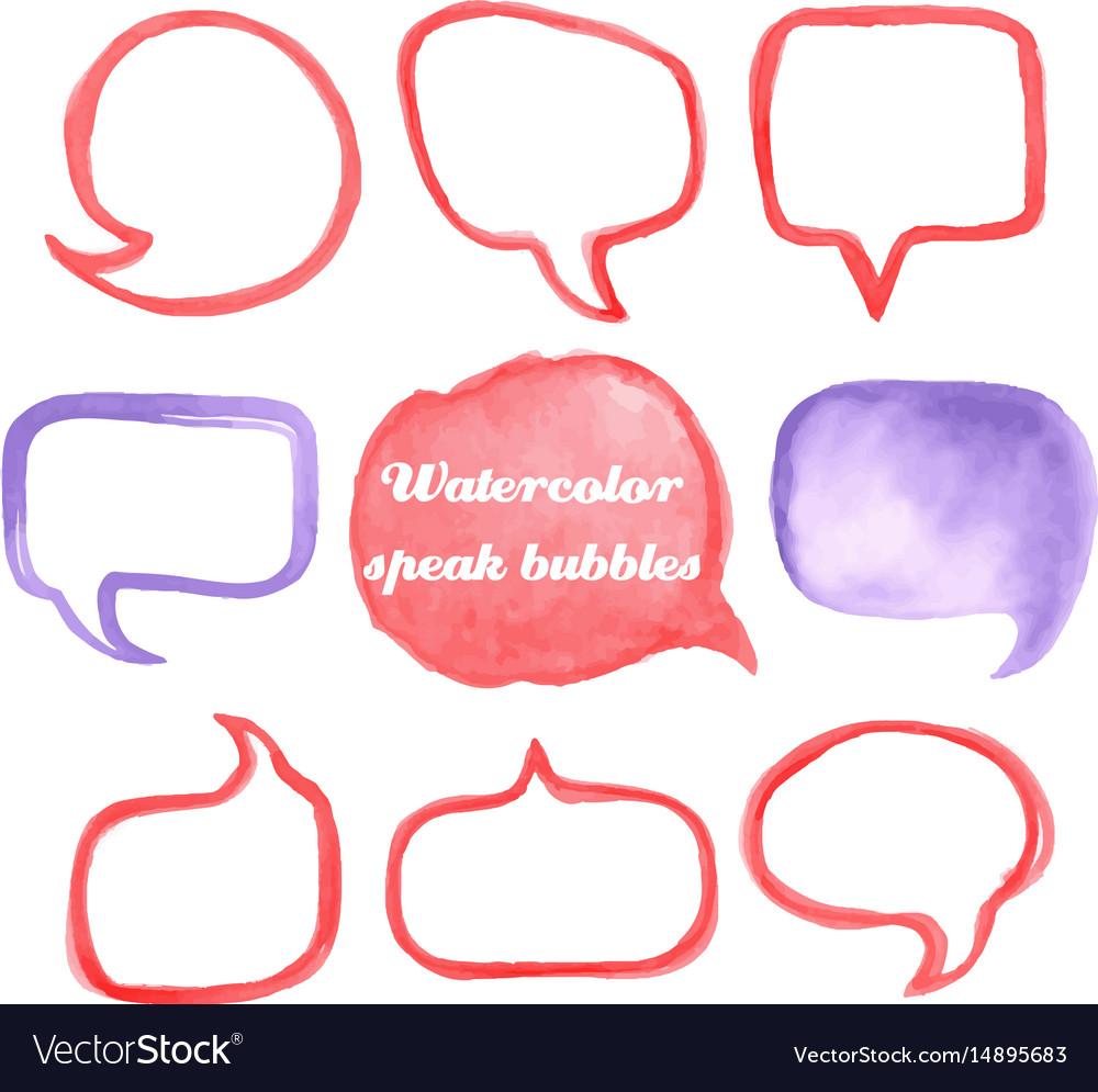 Watercolor speach bubbles vector image