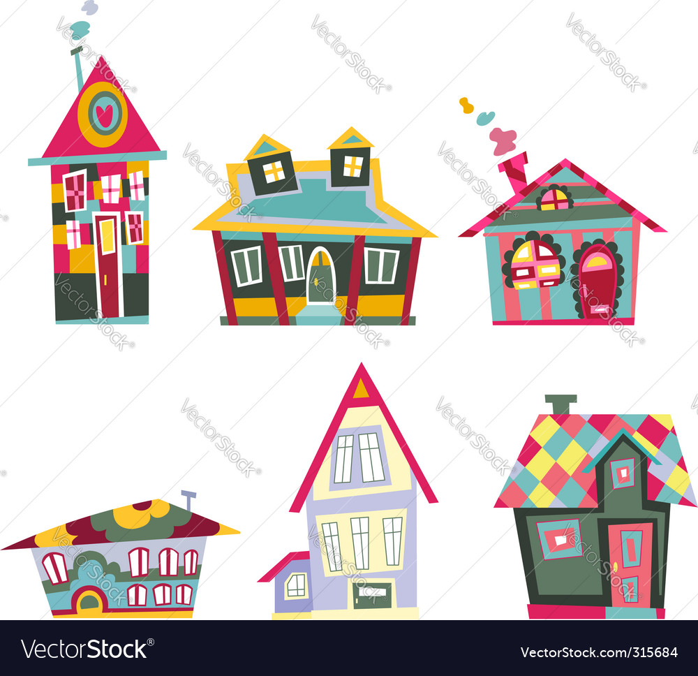 Decorative houses vector image