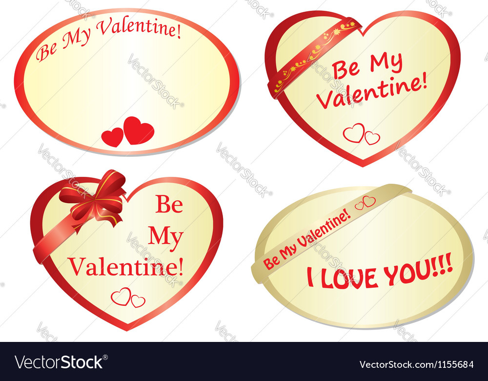Set of romantic frames with hearts Royalty Free Vector Image