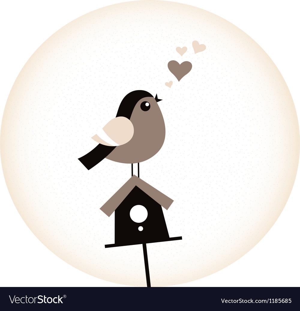 Cute Valentine Bird with a Birdhouse - retro brown vector image