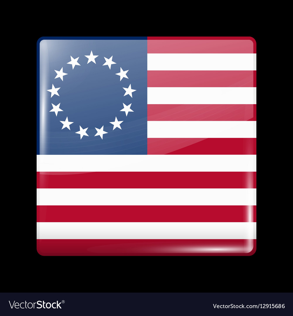 American Betsy Ross Flag Glossy Icon Square Shape vector image