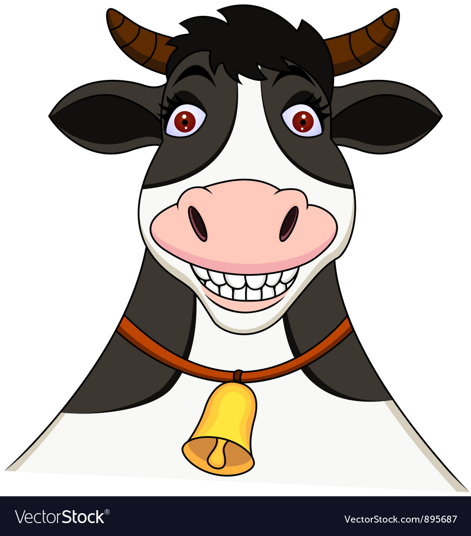 smiling cow cartoon royalty free vector image vectorstock