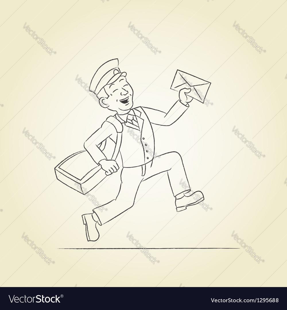 Postman sketch Vector Image