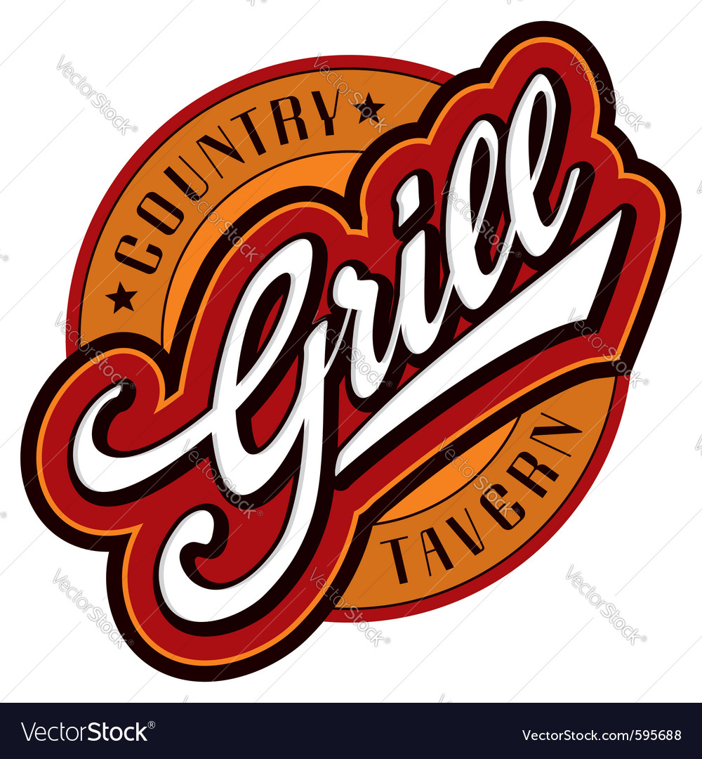 Grill hand lettering design vector image